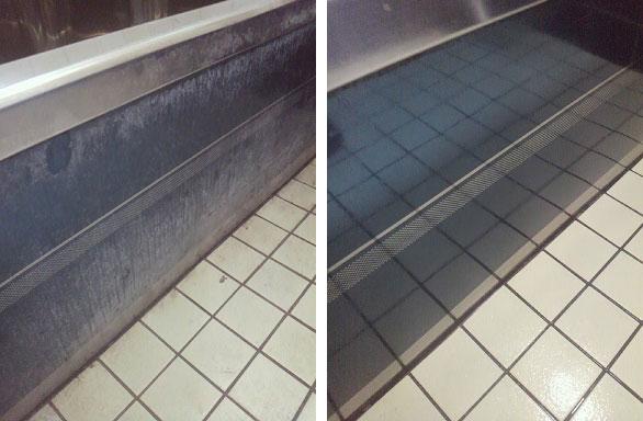 ステンレス製浴槽の水垢除去0