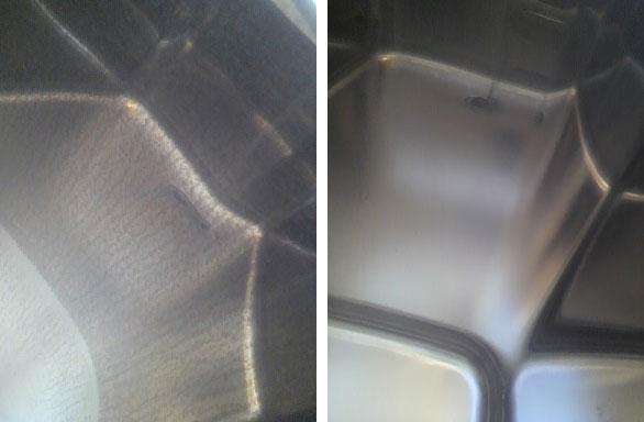 ステンレス製浴槽の水垢除去2